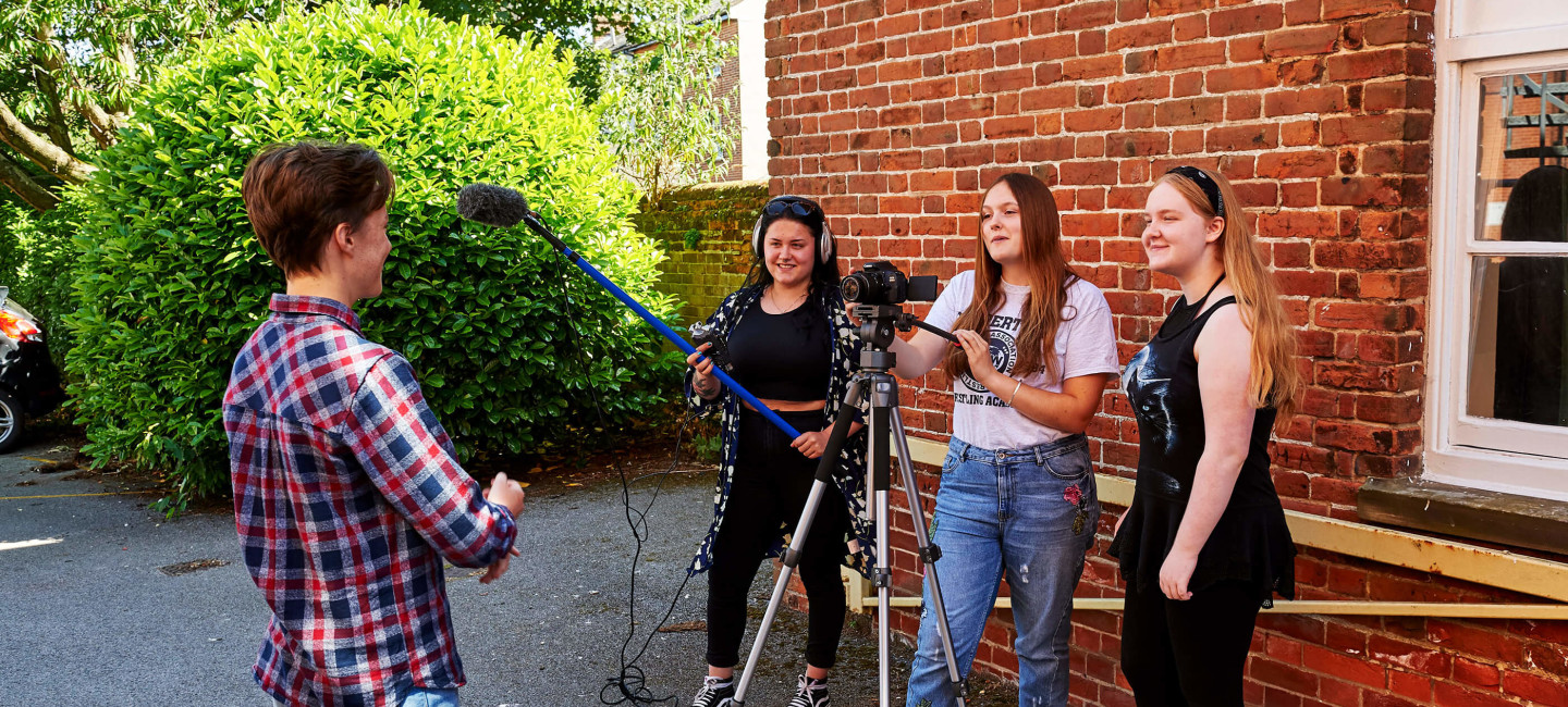 Paston media students recording an interview with another student