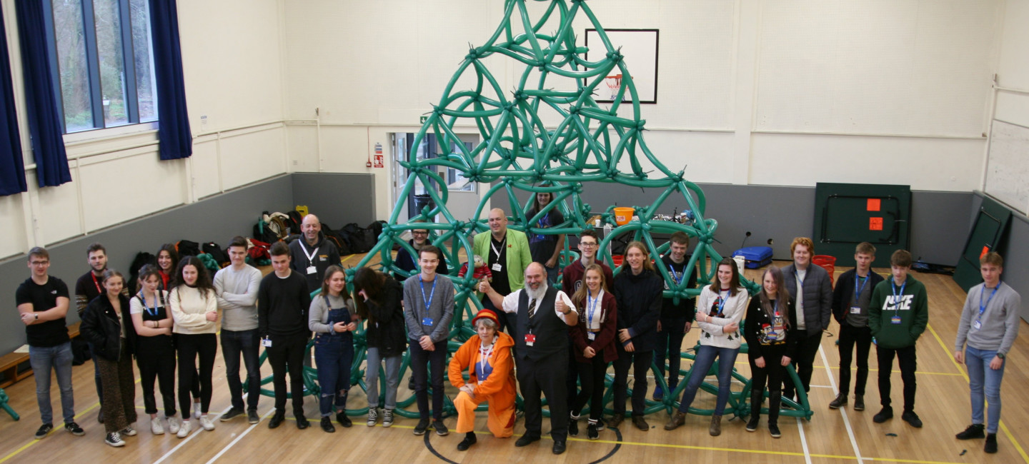 Paston College students with their 3D fractal made from modelling balloons Pic Credit Paston College