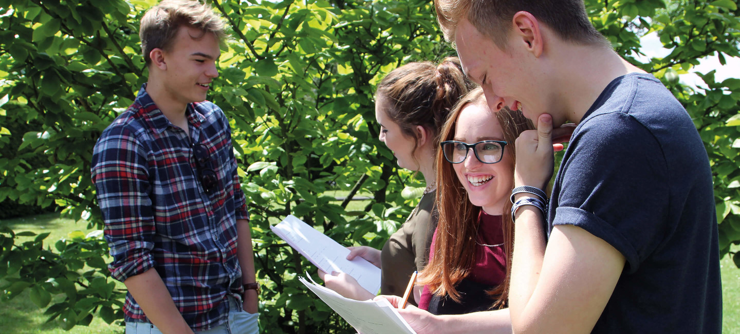 Students outside with A-level results