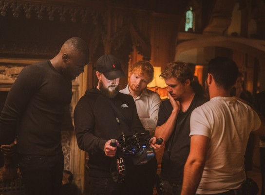 Sam Meyer with Ed Sheeran on production shoot