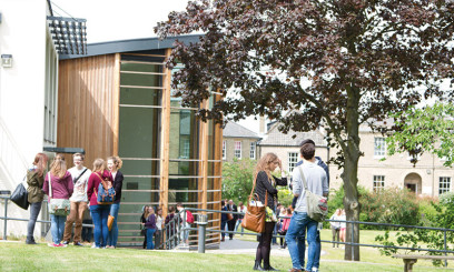 Students outside on Paston Lawns Campus