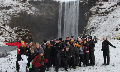 Group of students on trip abroad